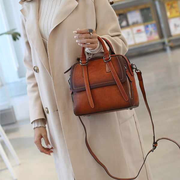 Vintage Leather Women Handbags Leather Crossbody Bags Purses for Women Chic