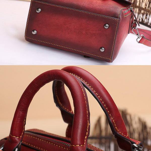 Vintage Leather Women Handbags Leather Crossbody Bags Purses for Women beautiful