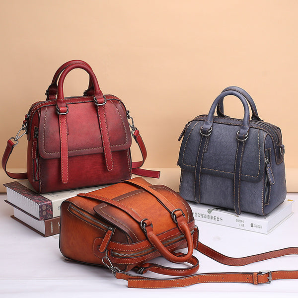 Vintage Leather Women Handbags Leather Crossbody Bags Purses for Women