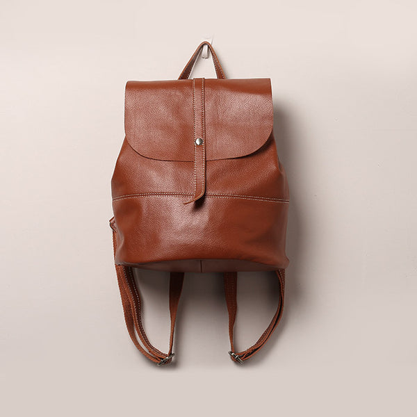 Vintage Leather Womens Backpack Purse Cool Backpacks for Women Brown
