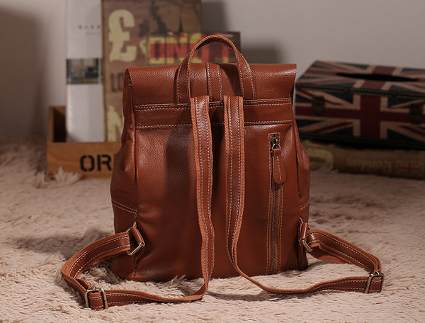 Vintage Leather Womens Backpack Purse Cool Backpacks for Women cowhide