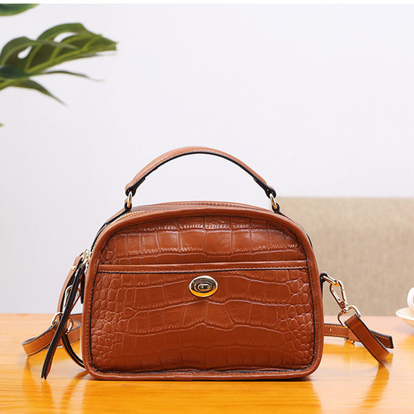Vintage Leather Womens Crossbody Bags Shoulder Bag Purses for Women Brown