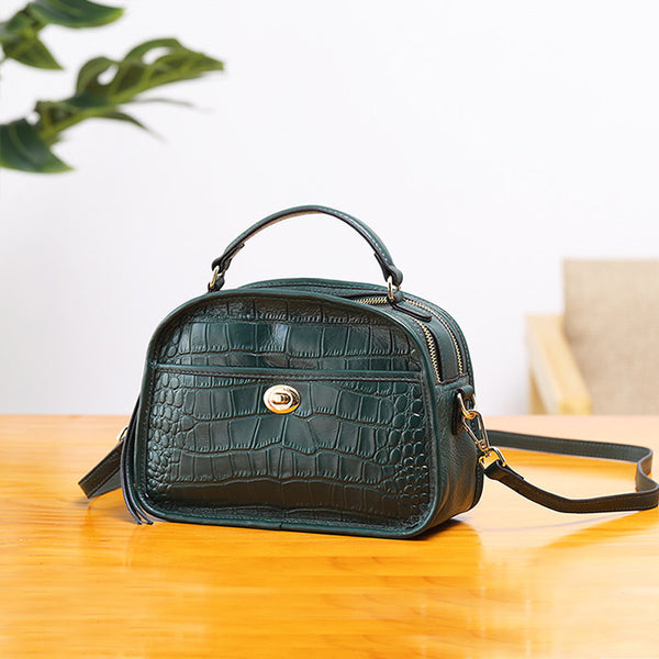Vintage Leather Womens Crossbody Bags Shoulder Bag Purses for Women Handmade