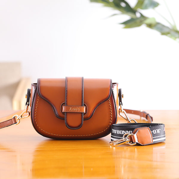 Vintage Leather Womens Small Crossbody Bags Saddle Bag for Women