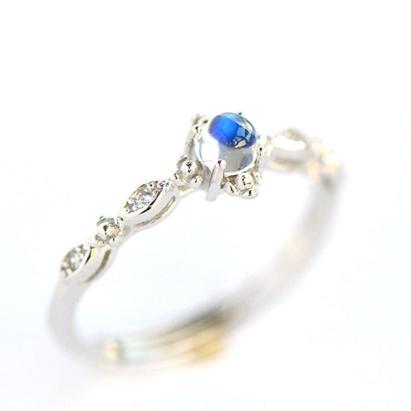 Vintage Moonstone Ring Silver Engage Ring June Birthstone Women beautiful