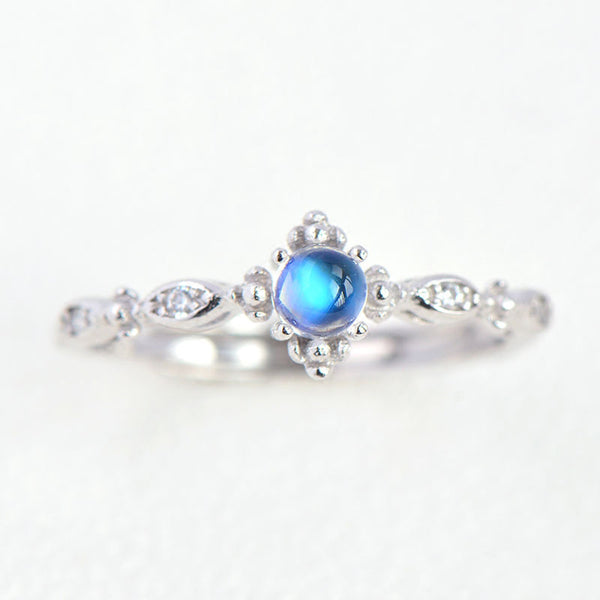Vintage Moonstone Ring Silver Engage Ring June Birthstone Women blue