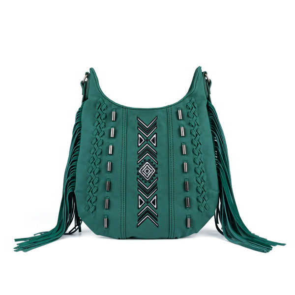 Vintage Green PU leather boho fringe crossbody bag purse for Women Accessories