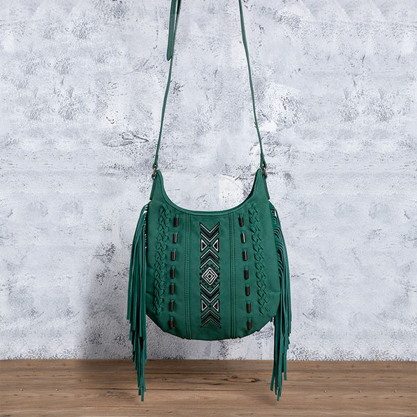 Vintage Green PU leather boho fringe crossbody bag purse for Women Beautiful