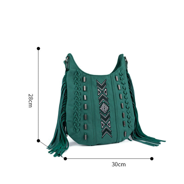 Vintage Green PU leather boho fringe crossbody bag purse for Women Best