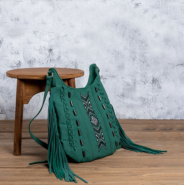 Vintage Green PU leather boho fringe crossbody bag purse for Women Chic