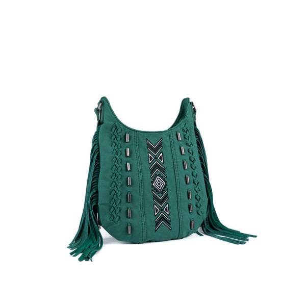 Vintage Green PU leather boho fringe crossbody bag purse for Women Cool