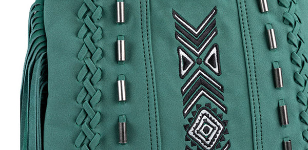 Vintage Green PU leather boho fringe crossbody bag purse for Women Durable