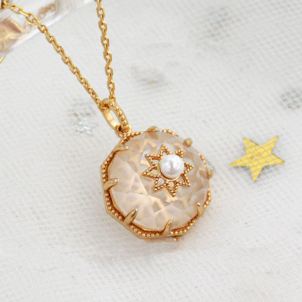 Vintage Pearl White Quartz Crystal Pendant Necklace Gold Silver Jewelry Women cute