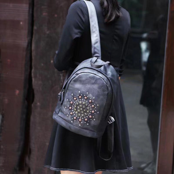 Vintage Rivets Leather Backpack Bag Purse Cool Backpacks for Women Affordable