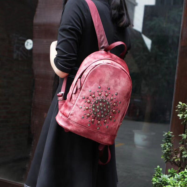 Vintage Rivets Leather Backpack Bag Purse Cool Backpacks for Women Beautiful