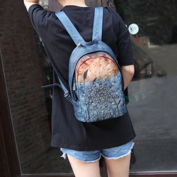 Vintage Rivets Leather Backpack Bag Purse Cool Backpacks for Women Best
