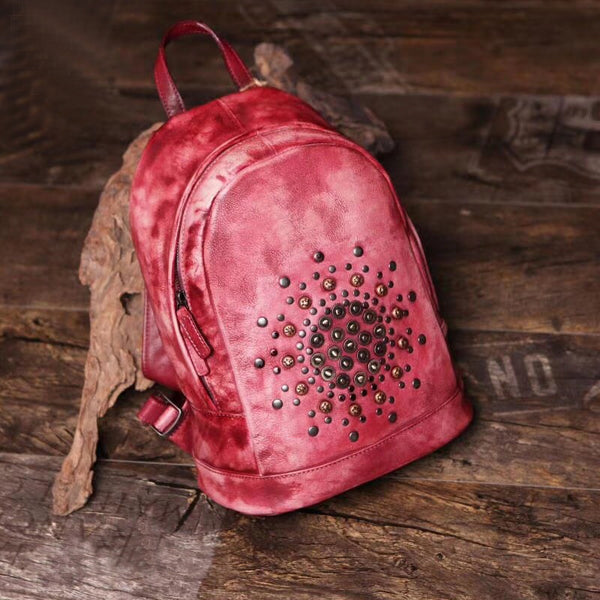 Womens Vintage Boho Leather Backpack Bags Purse Cool Book Bags for Women