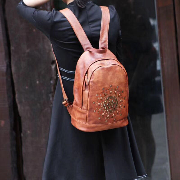 Vintage Rivets Leather Backpack Bag Purse Cool Backpacks for Women