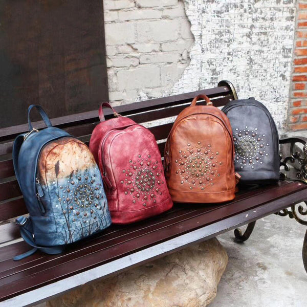 Vintage Rivets Leather Backpack Bag Purse Cool Backpacks