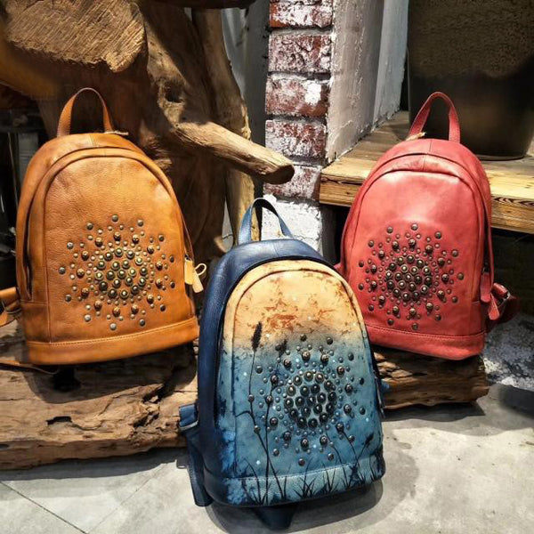 Vintage Womens Rivets Leather Backpack Bag Purse Cool Backpacks for Women