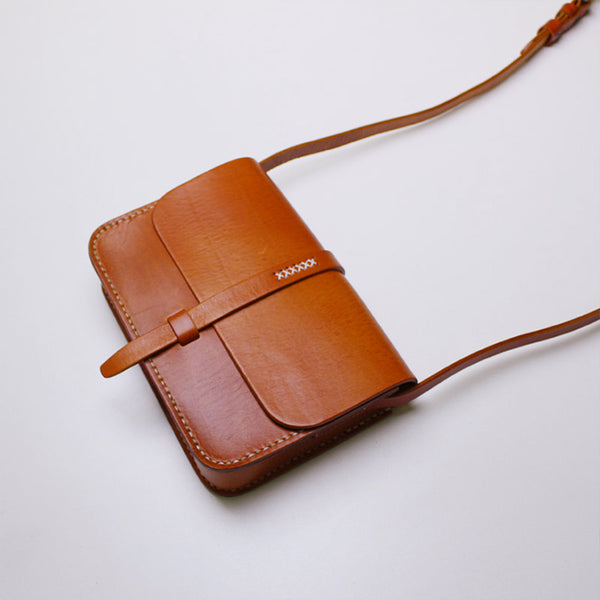 Vintage Small Handmade Leather Crossbody Shoulder Bags Purses Accessories women