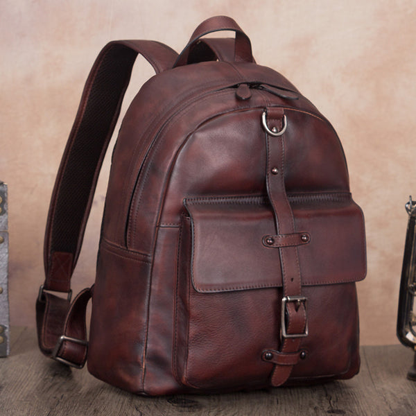 Vintage Style Ladies Leather Rucksack Backpack Purse for Women Affordable