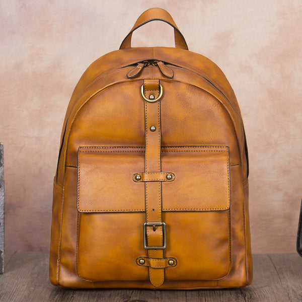 Vintage Style Ladies Leather Rucksack Backpack Purse for Women Beautiful