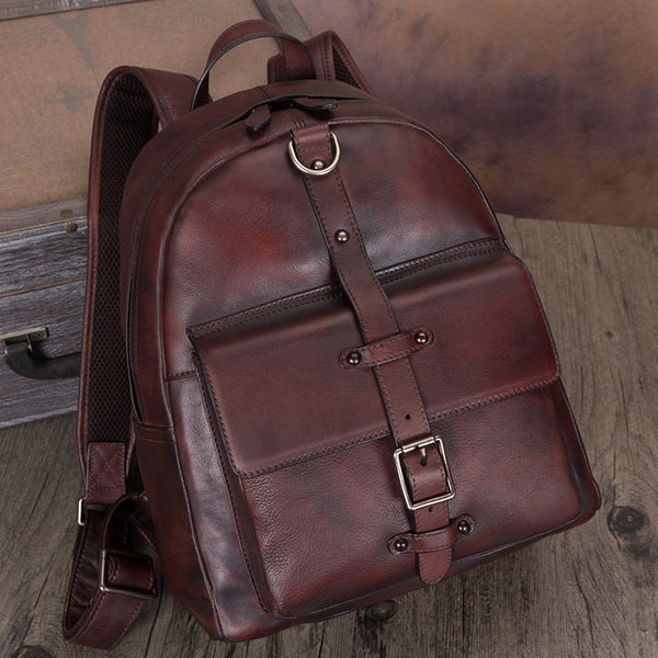 Small Womens Brown Full Grain Leather Backpack Purse for Women