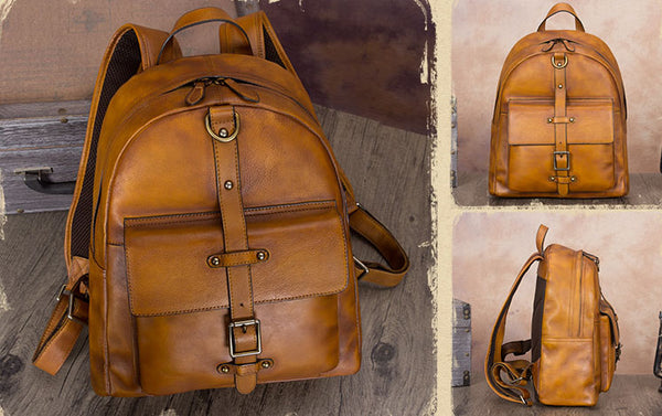 Vintage Style Ladies Leather Rucksack Backpack Purse for Women Cowhide