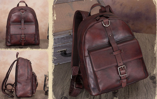 Vintage Style Ladies Leather Rucksack Backpack Purse for Women Cute