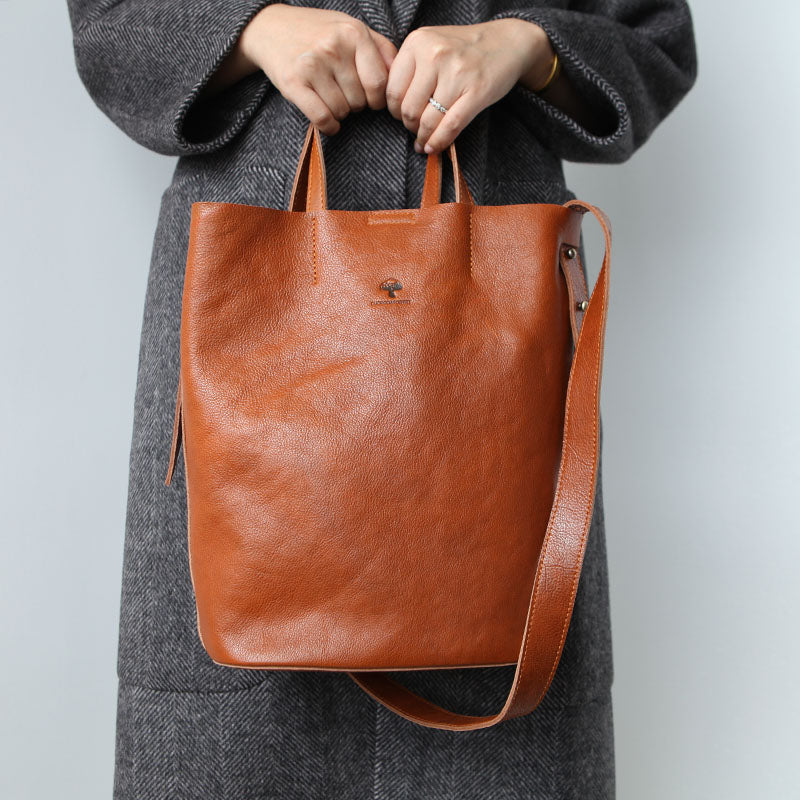 Vintage Women Genuine Leather Tote Bag Handbags Shoulder Bag for Women Brown