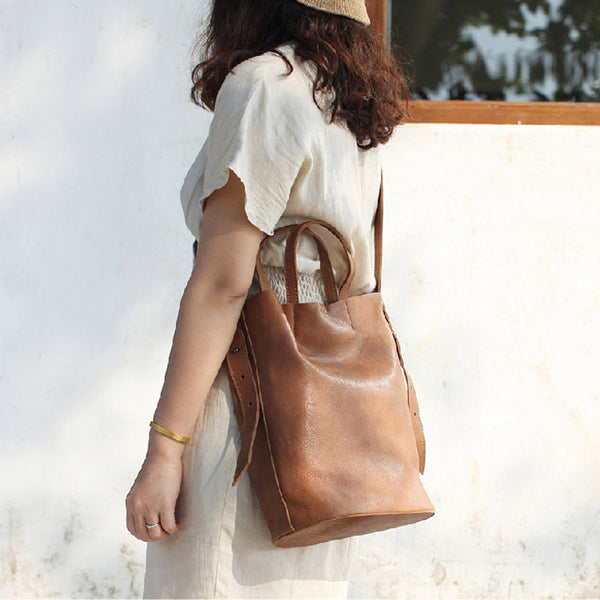 Vintage Women Genuine Leather Tote Bag Handbags Shoulder Bag for Women Details