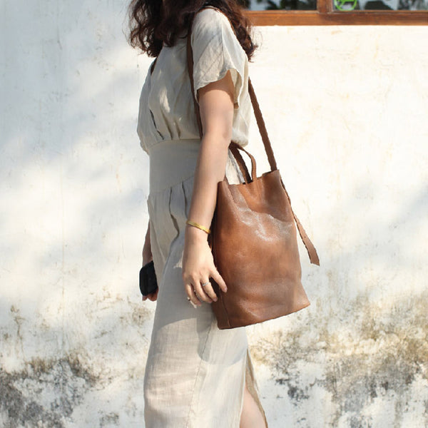 Vintage Women Genuine Leather Tote Bag Handbags Shoulder Bag for Women Genuine Leather