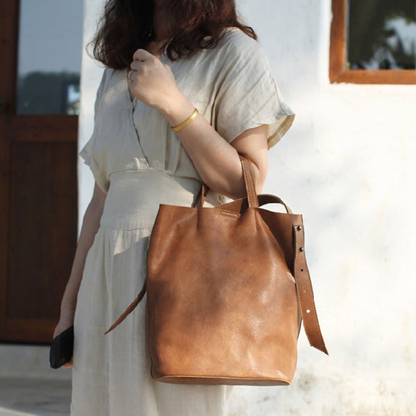 Vintage Women Genuine Leather Tote Bag Handbags Shoulder Bag for Women cute