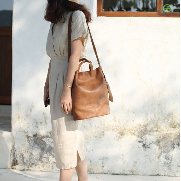 Vintage Women Genuine Leather Tote Bag Handbags Shoulder Bag for Women fashion