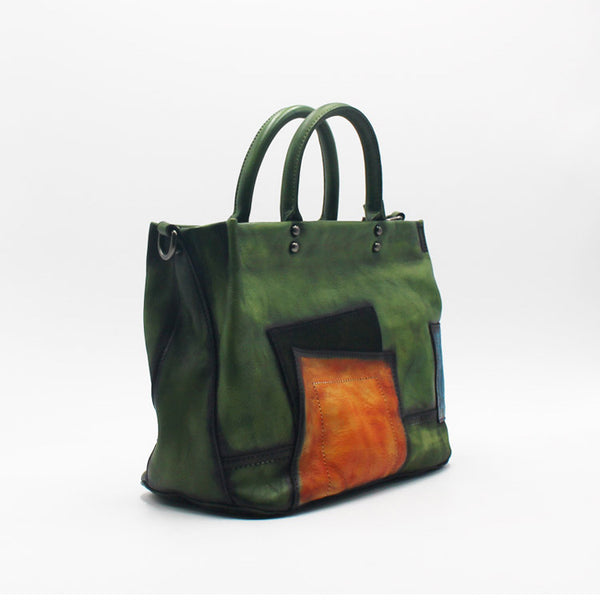 Vintage Women Green Leather Tote Bag Handbags Crossbody Bags for Women
