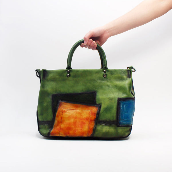 Vintage Women Green Leather Tote Bag Handbags Crossbody Bags for Women Handmade