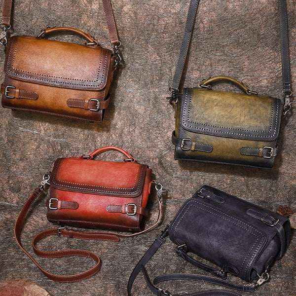 Vintage Women Leather Satchel Bag Crossbody Bags Purse for Women Brown
