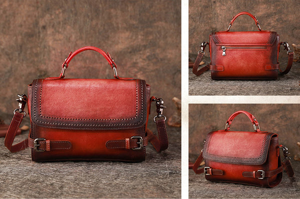 Vintage Women Leather Satchel Bag Crossbody Bags Purse for Women Details