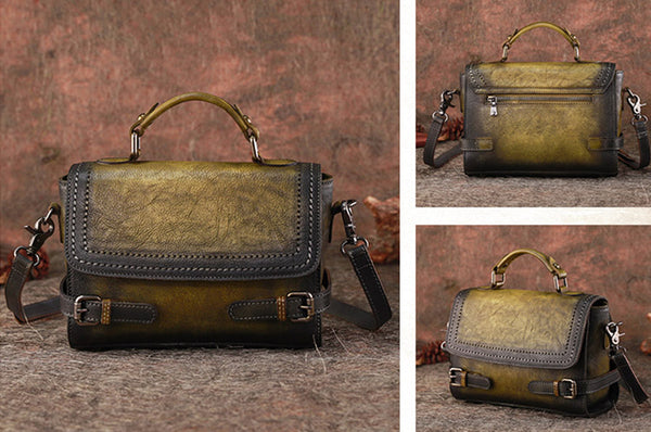 Vintage Women Leather Satchel Bag Crossbody Bags Purse for Women fashion