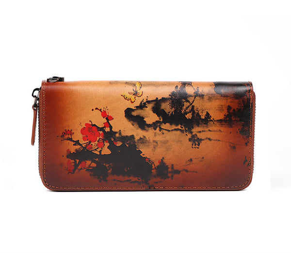 Vintage Women's Bifold Leather Long Wallet Purse Zip Around Wallet With Plum Blossom Pattern For Women Accessories
