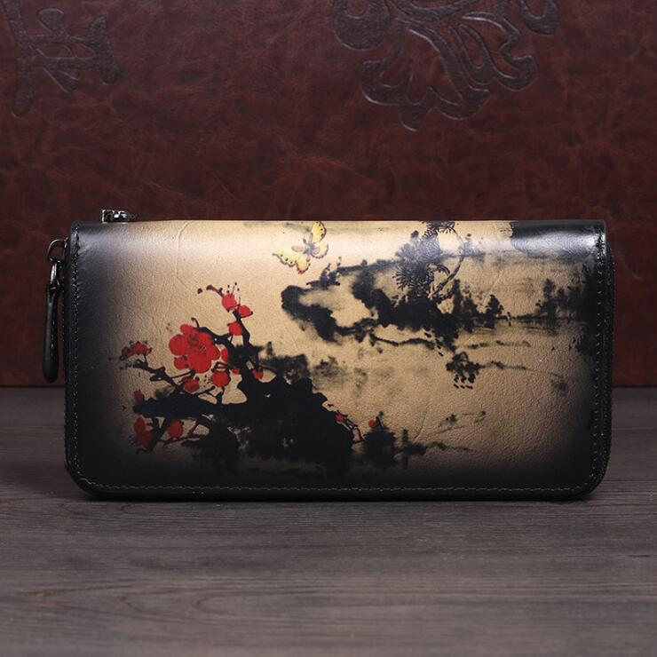 Vintage Women's Bifold Leather Long Wallet Purse Zip Around Wallet With Plum Blossom Pattern For Women Badass