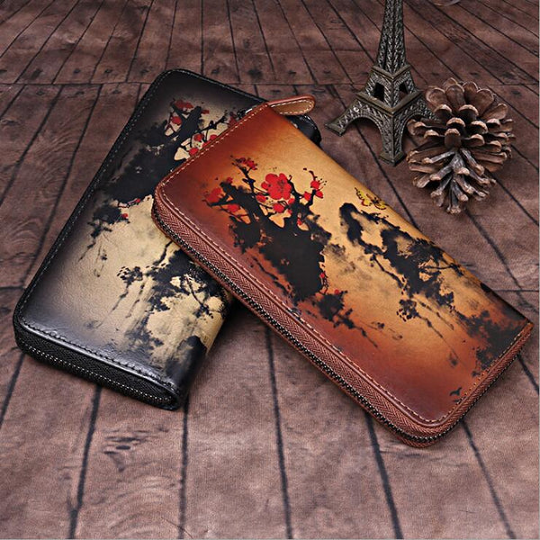 Vintage Women's Bifold Leather Long Wallet Purse Zip Around Wallet With Plum Blossom Pattern For Women Brown