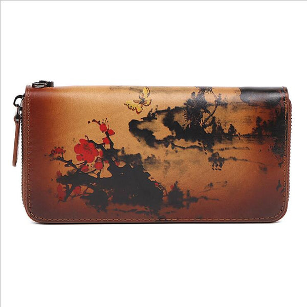 Vintage Women's Bifold Leather Long Wallet Purse Zip Around Wallet With Plum Blossom Pattern For Women Chic