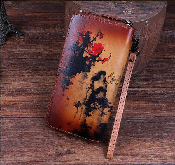 Vintage Women's Bifold Leather Long Wallet Purse Zip Around Wallet With Plum Blossom Pattern For Women Cool