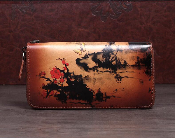Vintage Women's Bifold Leather Long Wallet Purse Zip Around Wallet With Plum Blossom Pattern For Women Cowhide