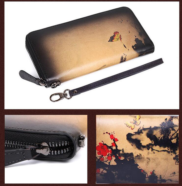 Vintage Women's Bifold Leather Long Wallet Purse Zip Around Wallet With Plum Blossom Pattern For Women Details