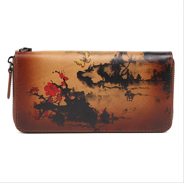 Vintage Women's Bifold Leather Long Wallet Purse Zip Around Wallet With Plum Blossom Pattern For Women Durable
