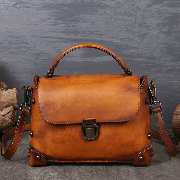 Vintage Women's Brown Leather Crossbody Satchel Purse Handbags for Women Chic