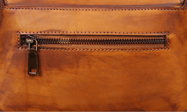 Vintage Women's Brown Leather Crossbody Satchel Purse Handbags for Women Funky